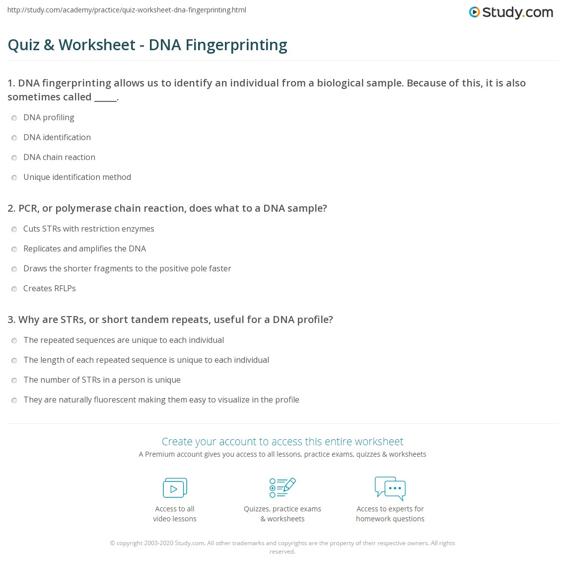 Free Worksheet Dna Fingerprinting Worksheet quiz worksheet dna fingerprinting study com print what is process uses worksheet