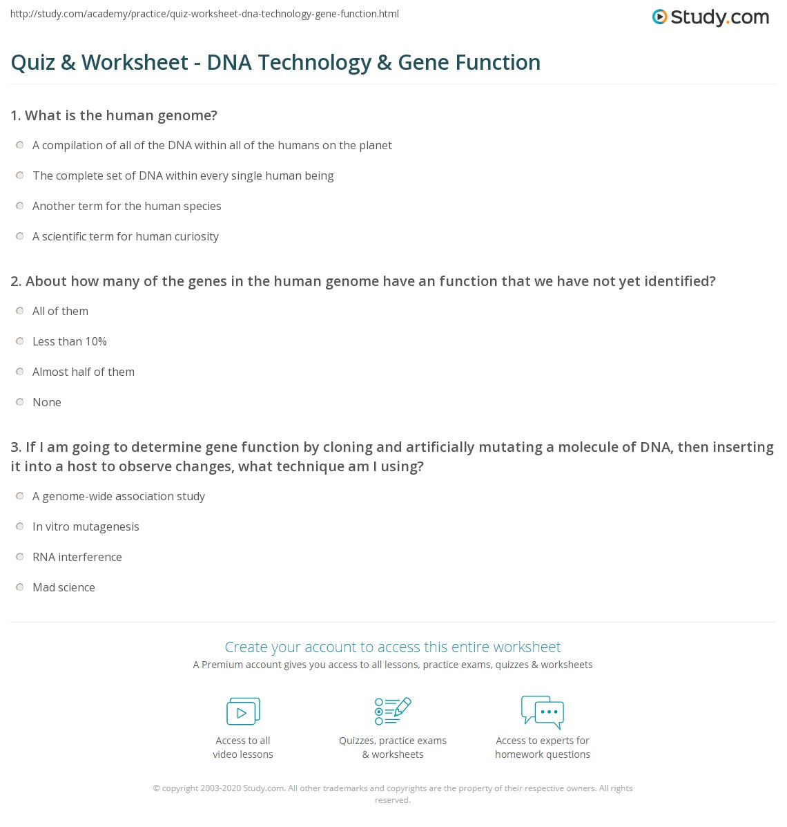 Quiz Worksheet DNA Technology Gene Function – Dna and Genes Worksheet Answers
