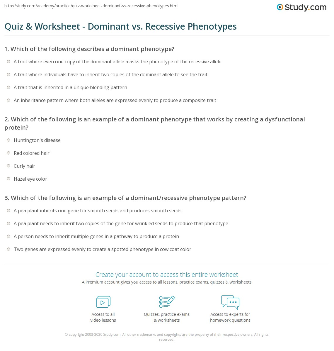 Quiz Worksheet Dominant vs Recessive Phenotypes – Dominant and Recessive Traits Worksheet