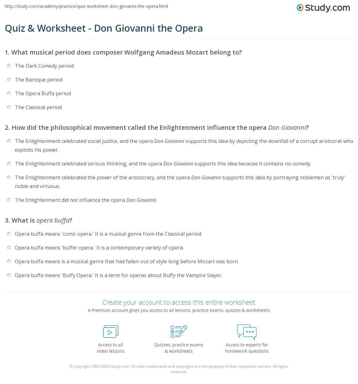Quiz Worksheet Don Giovanni the Opera – Composer Worksheets