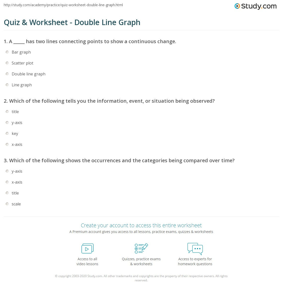 worksheet Double Line Graph Worksheets quiz worksheet double line graph study com print definition examples worksheet