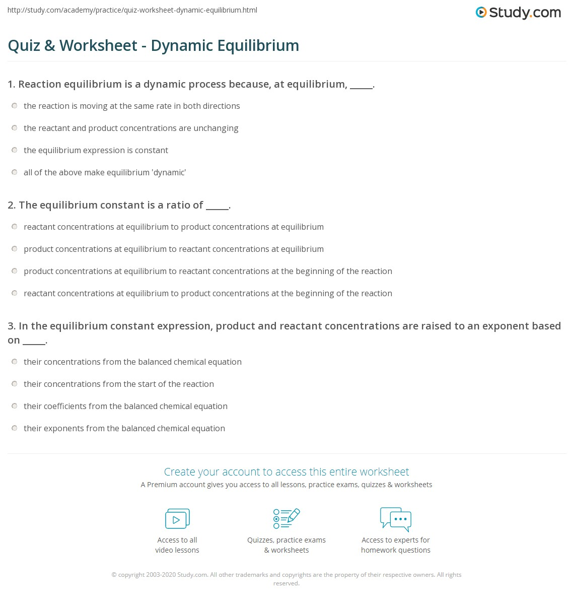 Quiz Worksheet Dynamic Equilibrium – Equilibrium Worksheet