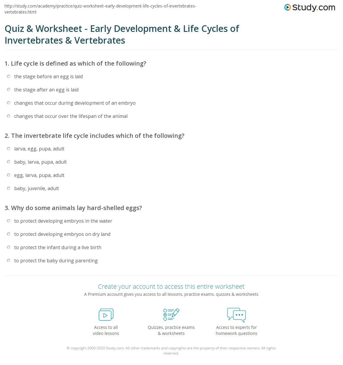 Quiz & Worksheet - Early Development & Life Cycles of  free worksheets, learning, math worksheets, and grade worksheets Vertebrates Invertebrates Worksheet 2 1205 x 1140
