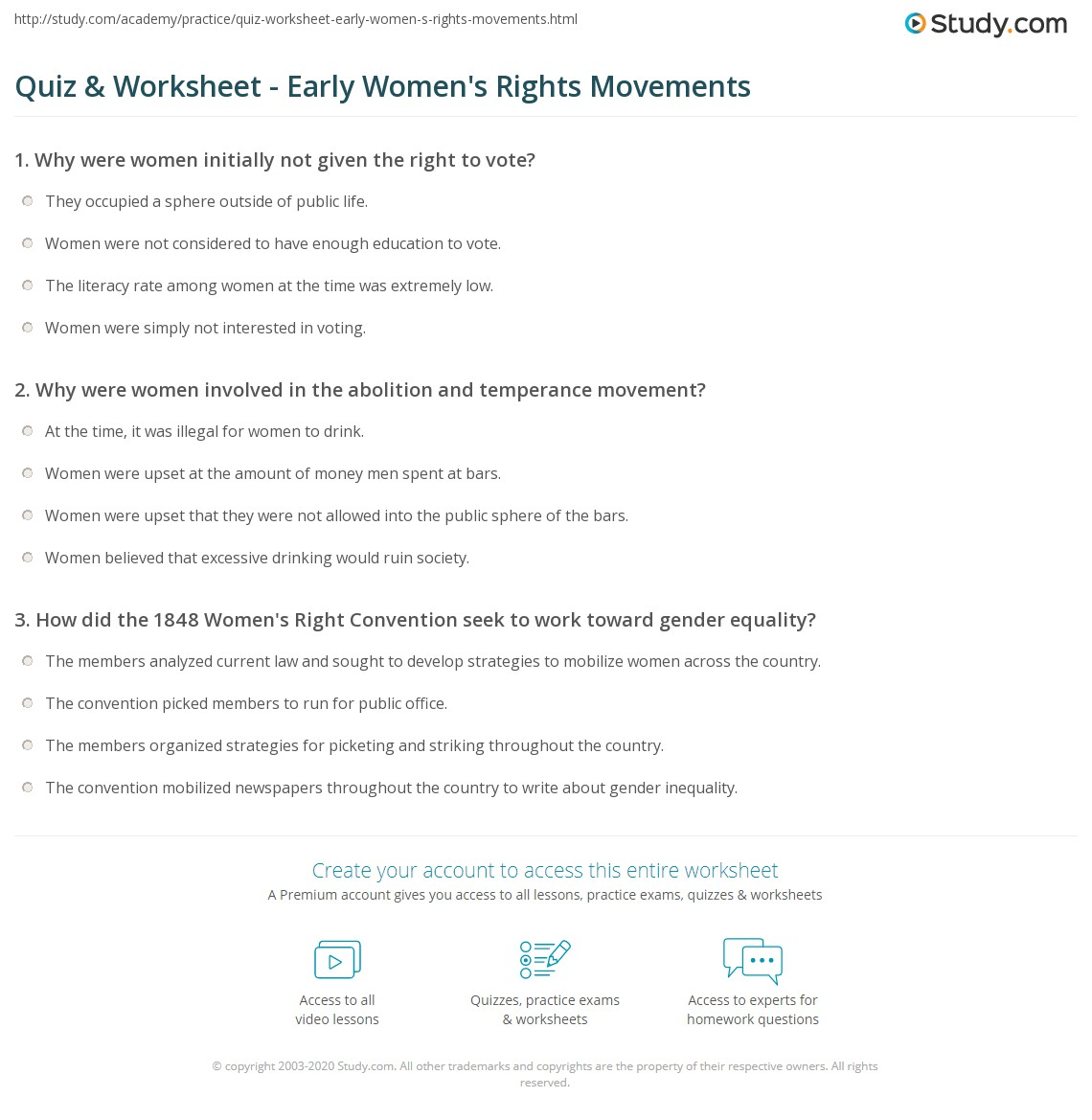 quiz worksheet early women s rights movements com print feminism in the 19th century women s rights roles and limits worksheet