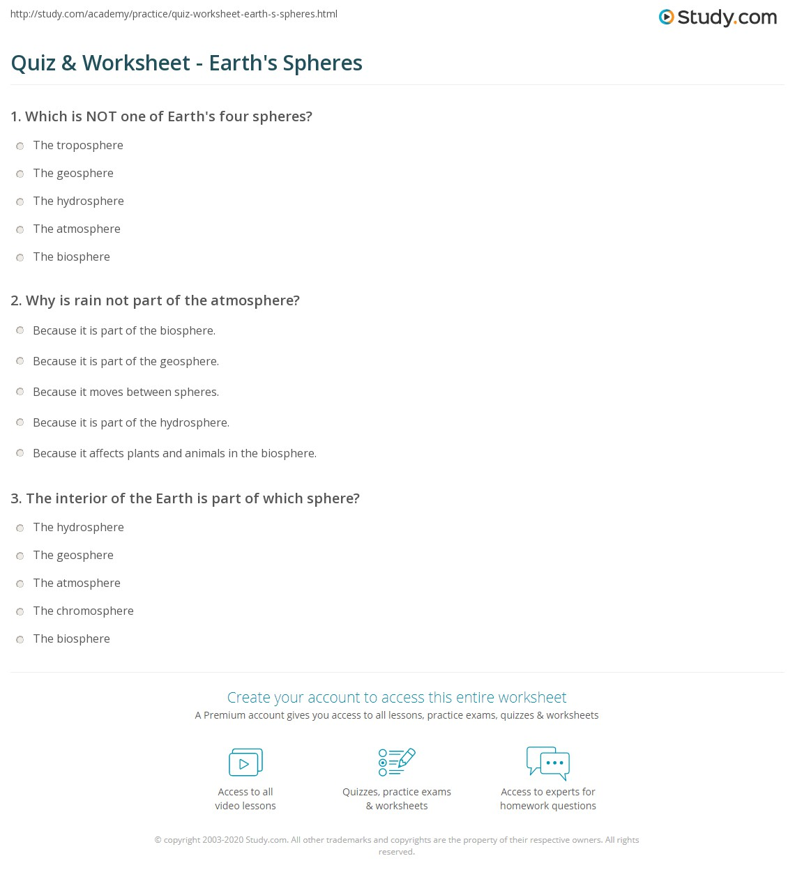 worksheet Biosphere Worksheet quiz worksheet earths spheres study com print the four of earth geosphere hydrosphere biosphere and atmosphere worksheet