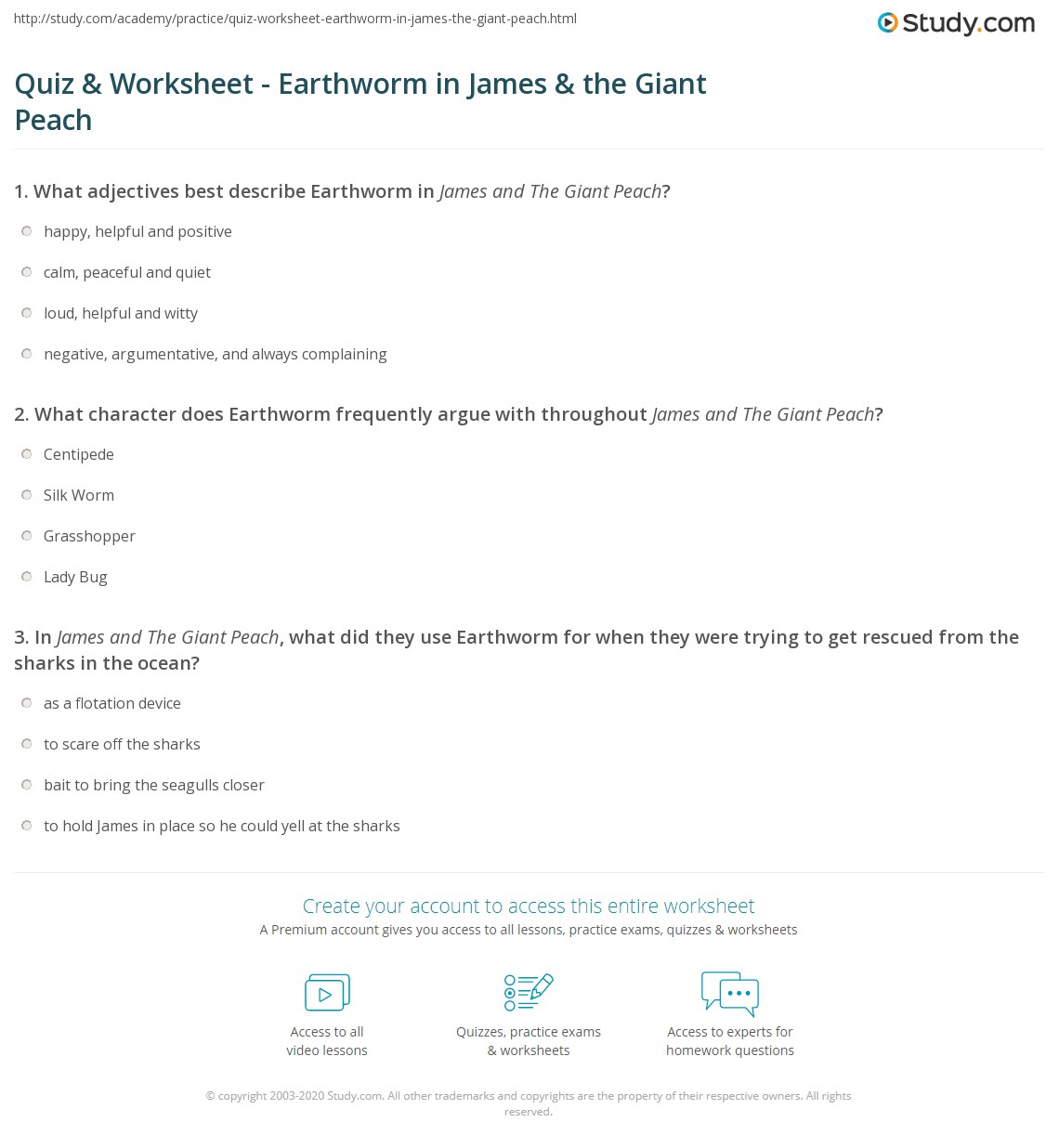 Quiz Worksheet Earthworm in James the Giant Peach – Earthworm Worksheet Answers