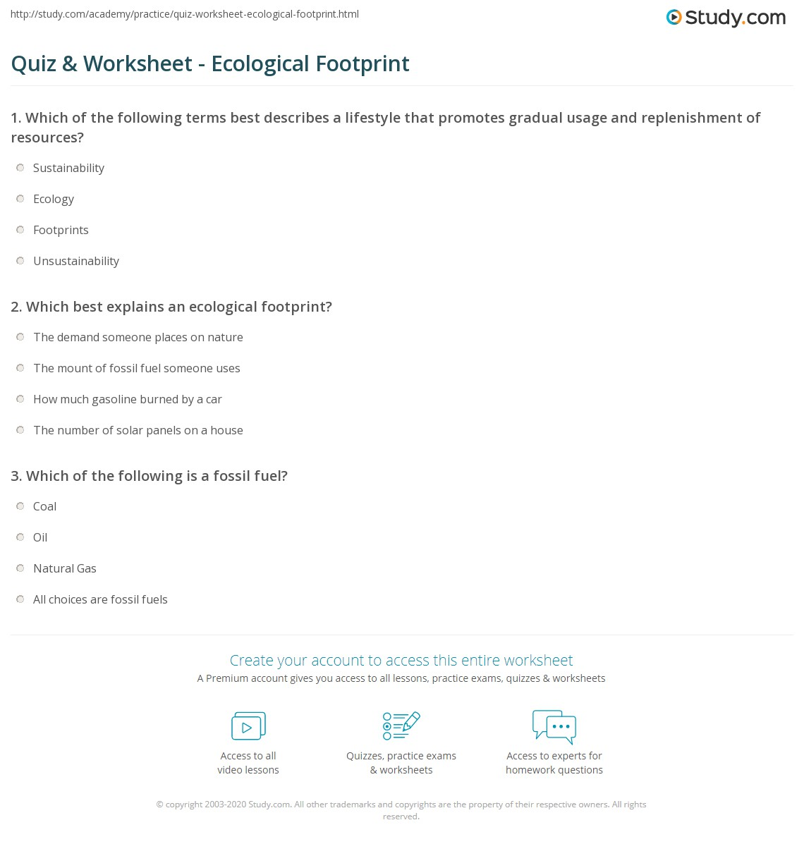 Quiz & Worksheet - Ecological Footprint | Study.com