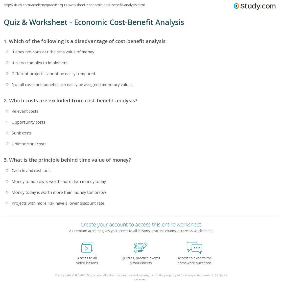 Quiz Worksheet Economic CostBenefit Analysis – Cost Analysis Worksheet