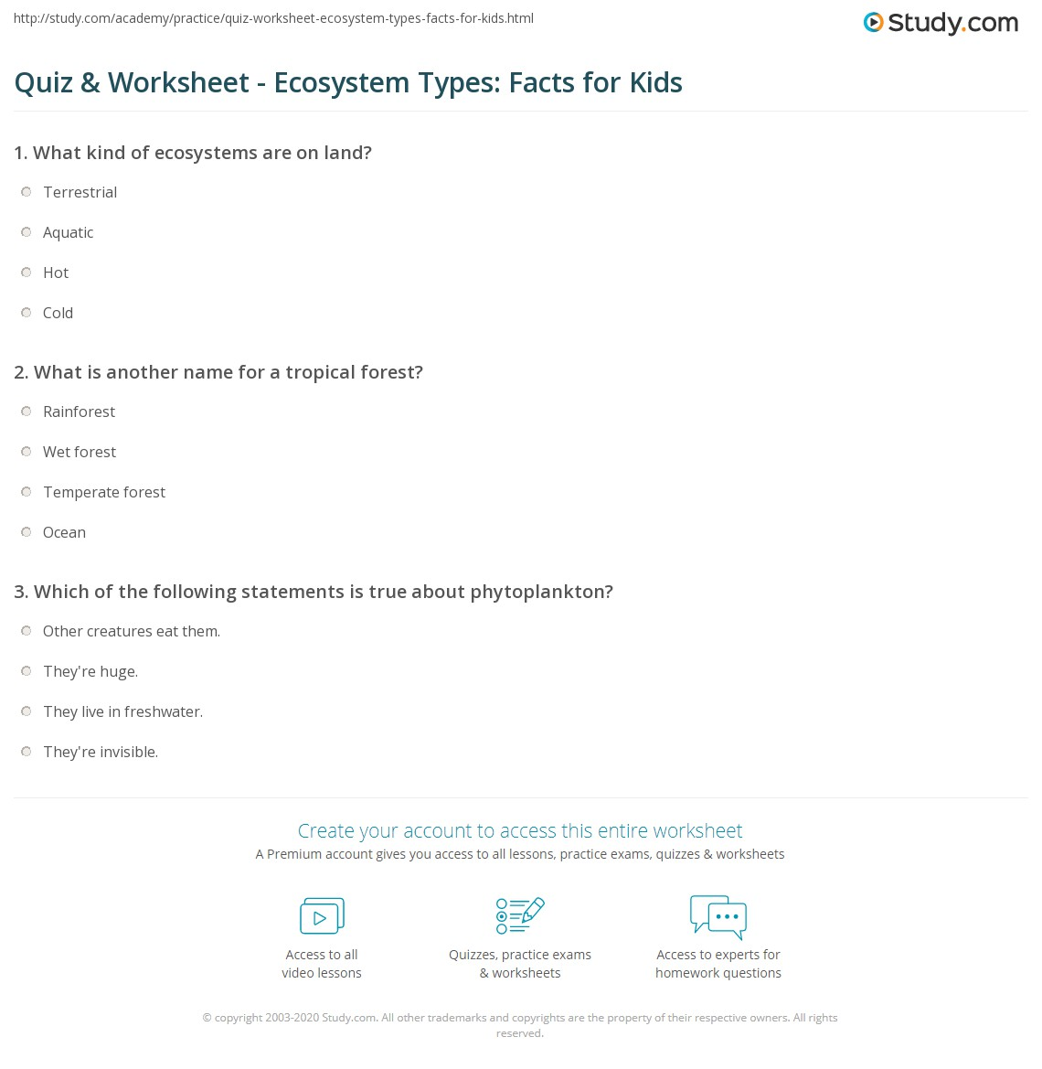 Ecosystems For Kids Worksheets Free Worksheets Library