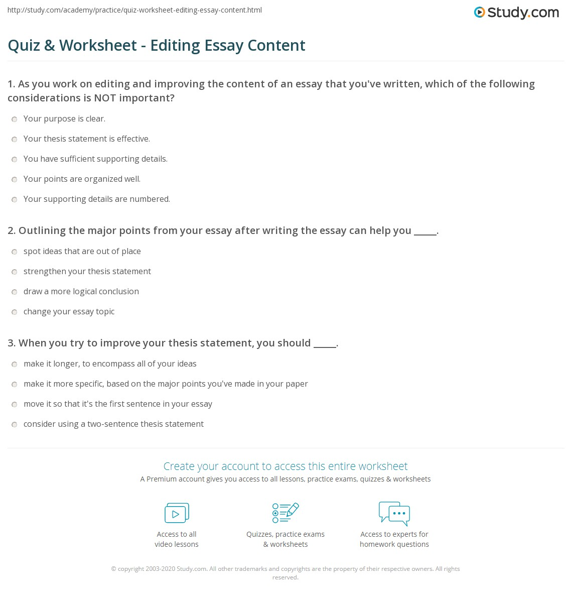quiz worksheet editing essay content com print how to edit and improve essay content worksheet