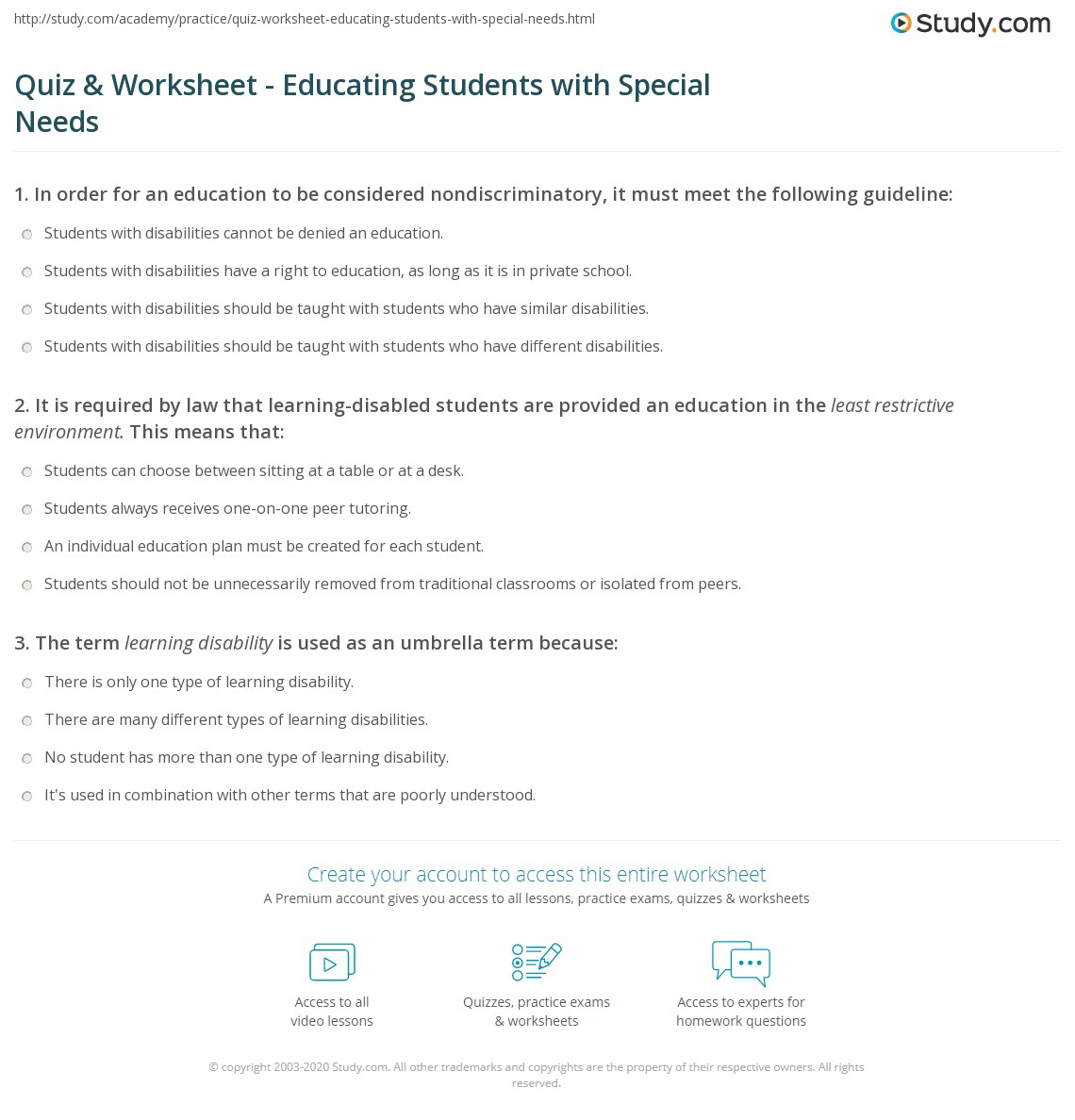 English teaching worksheets: Special needs