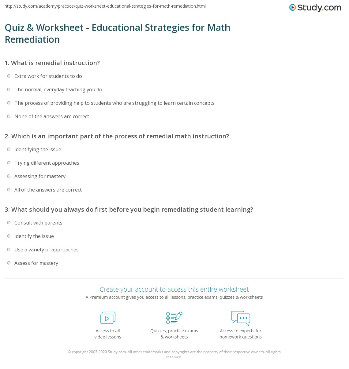 Printables Remedial Math Worksheets quiz worksheet educational strategies for math remediation print teaching methods remedial worksheet