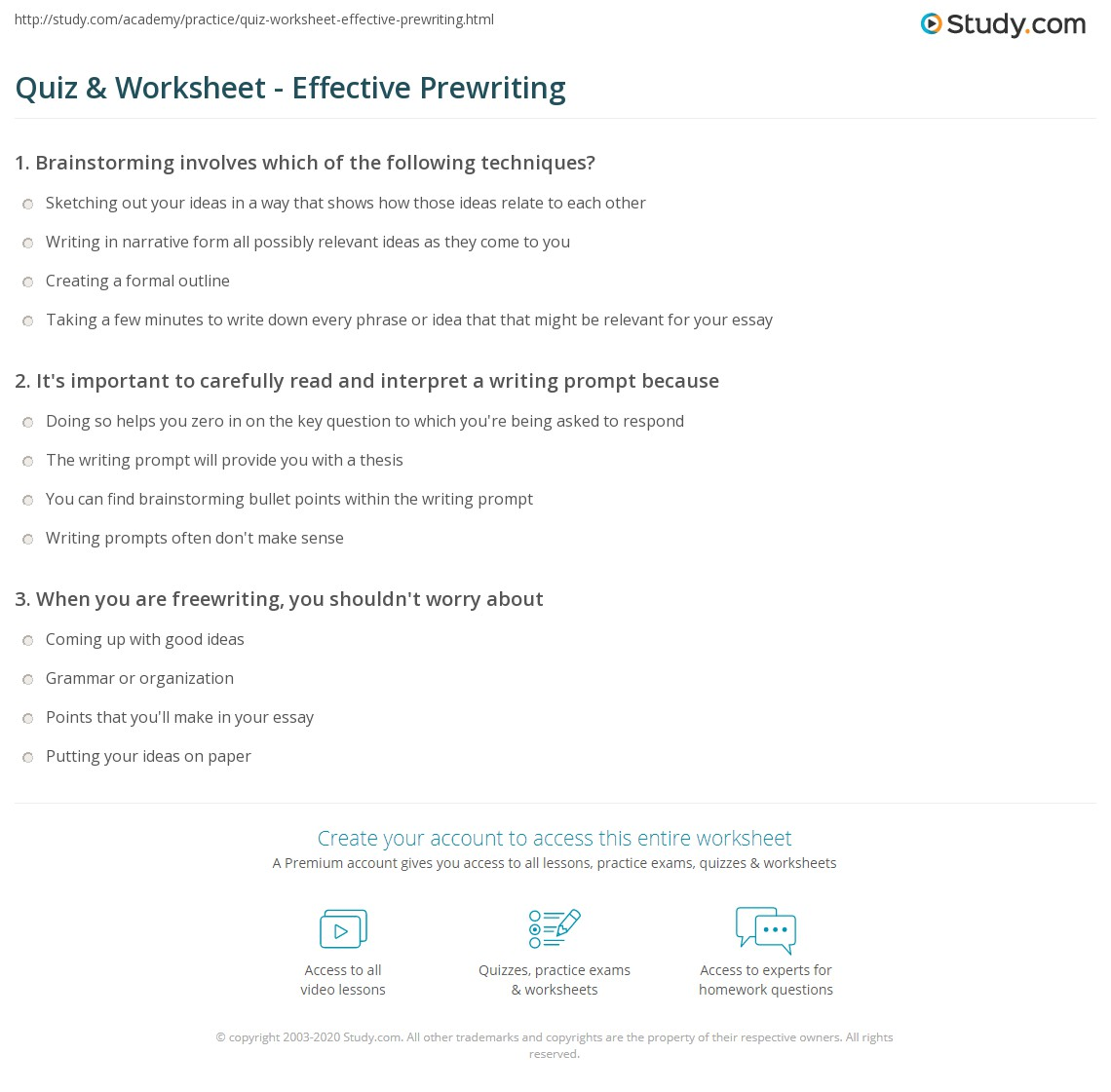 quiz worksheet effective prewriting com it s important to carefully and interpret a writing prompt because