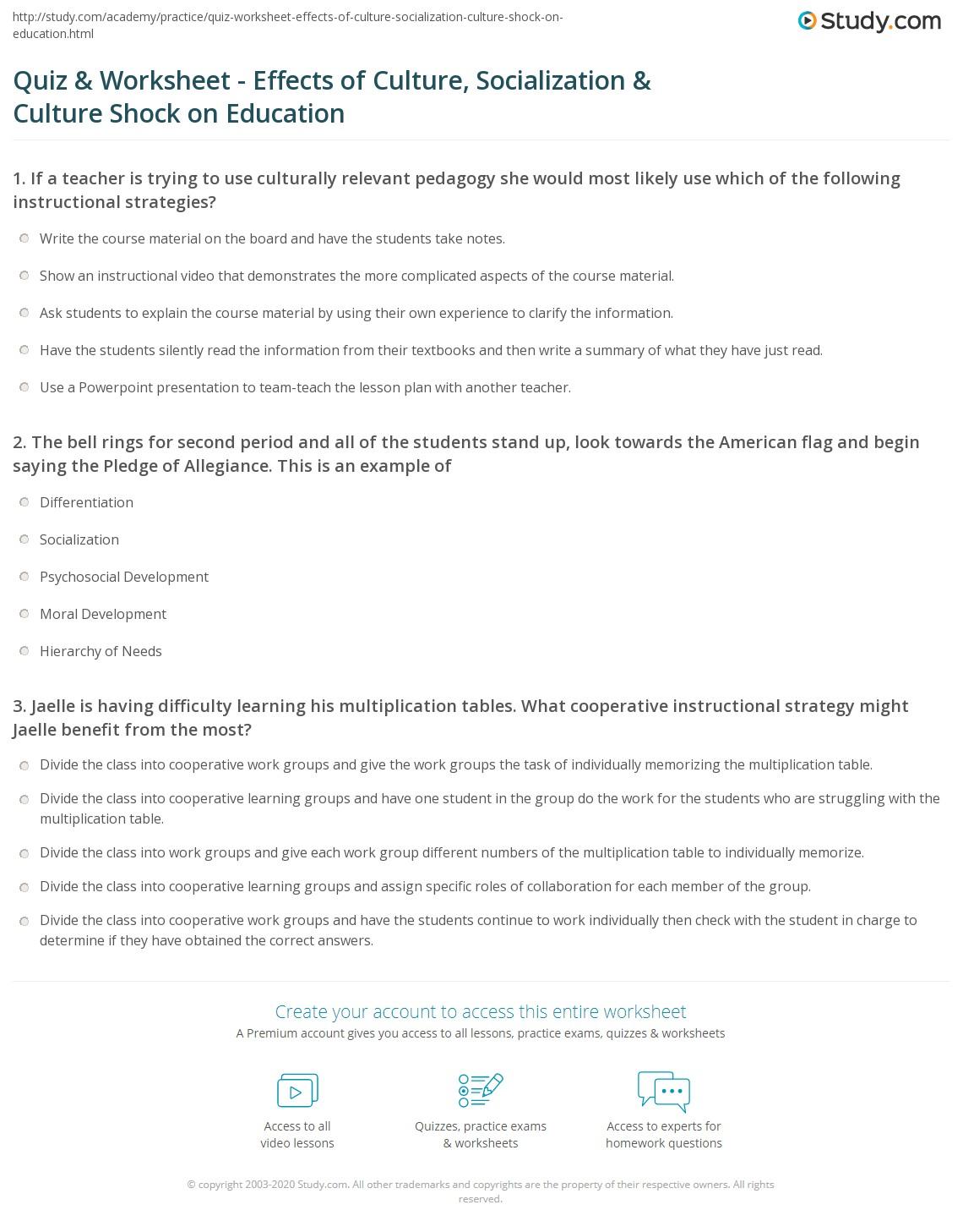 Quiz Worksheet Effects of Culture Socialization Culture – Pledge of Allegiance Worksheet