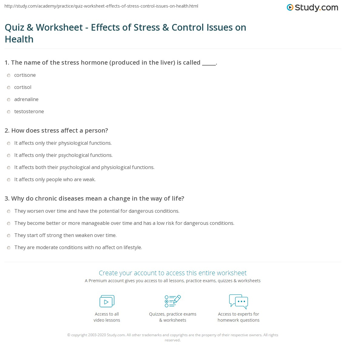 Quiz Worksheet Effects of Stress Control Issues on Health – Stress Worksheets