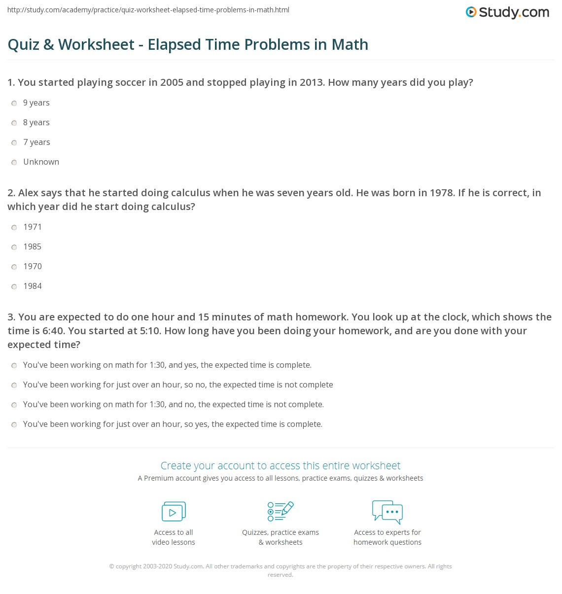 Quiz Worksheet Elapsed Time Problems in Math – Elapsed Time Word Problems Worksheets