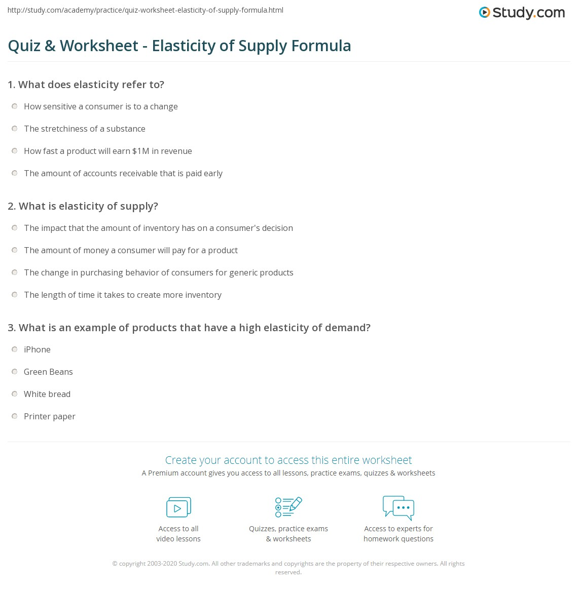 quiz worksheet elasticity of supply formula. Black Bedroom Furniture Sets. Home Design Ideas