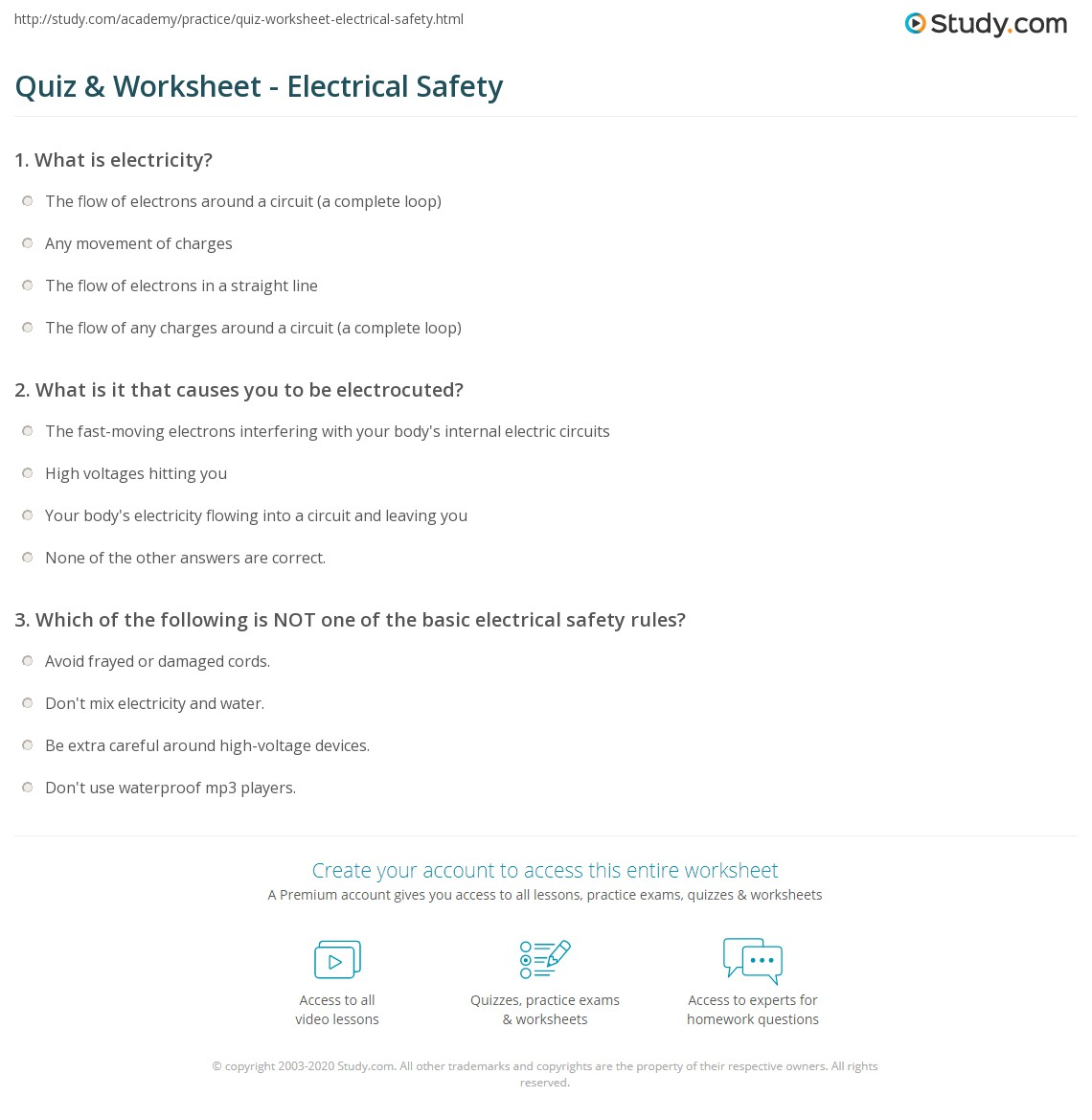 Printables Electrical Safety Worksheet quiz worksheet electrical safety study com print how to use electricity safely worksheet