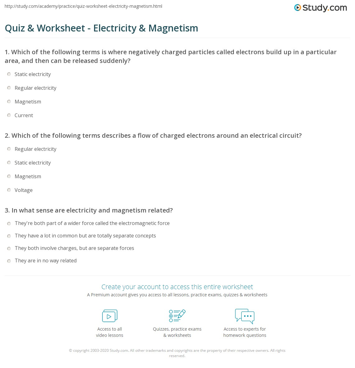 Quiz Worksheet Electricity Magnetism – Electricity and Magnetism Worksheets