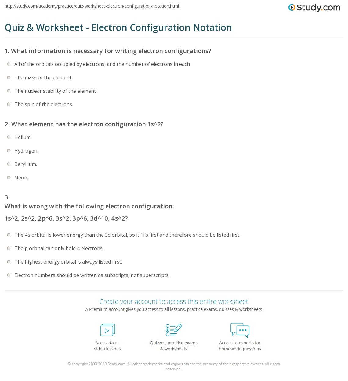 Printables Electron Configuration Worksheet Answers quiz worksheet electron configuration notation study com print orbital noble gas worksheet
