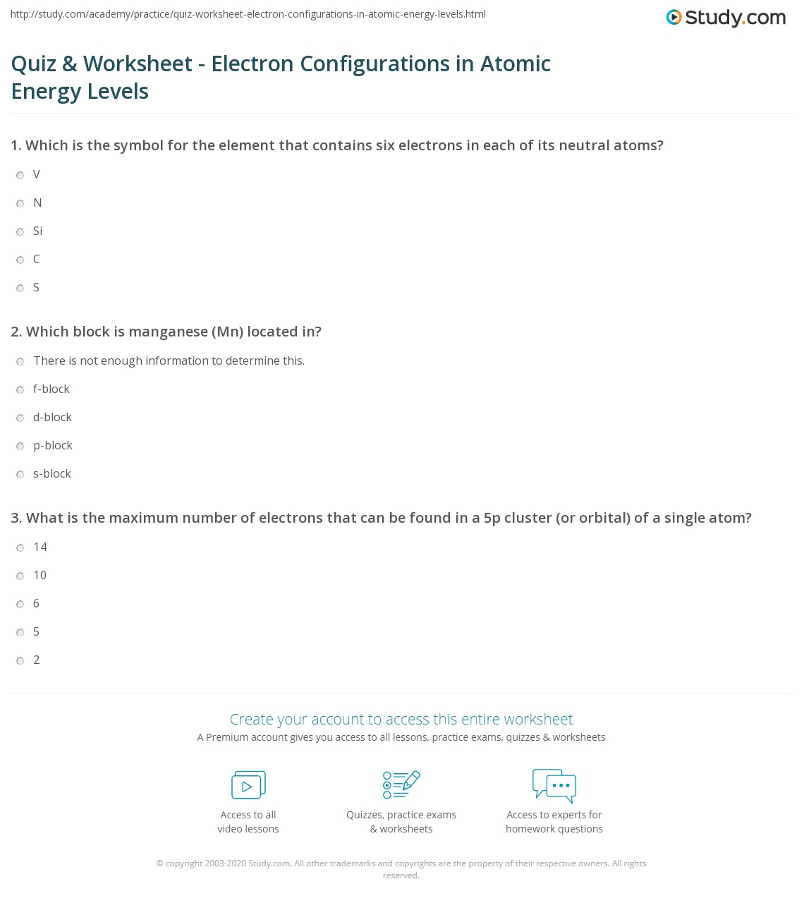Quiz Worksheet Electron Configurations in Atomic Energy Levels – Electron Configuration Practice Worksheet