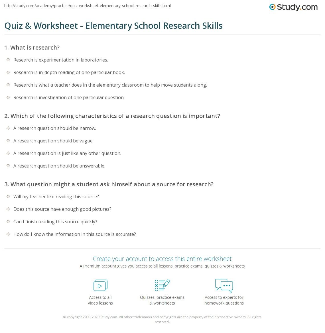 Quiz Worksheet Elementary School Research Skills – Elementary School Worksheets