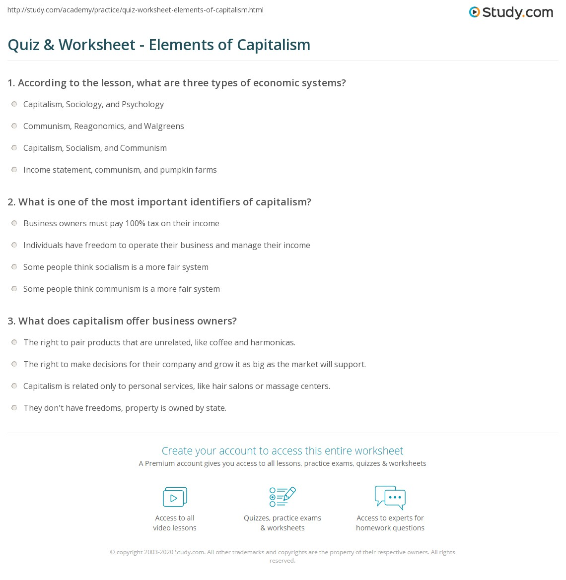 capitalism worksheet  comparing economic systems worksheet capitalism vs communism quiz worksheet elements of capitalism study com