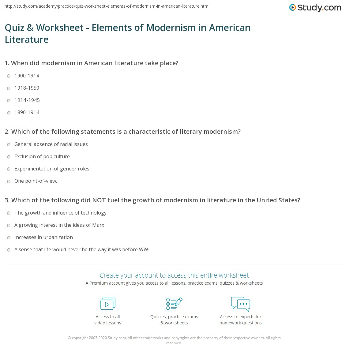 Quiz & Worksheet - Elements of Modernism in American Literature  worksheets, education, free worksheets, multiplication, math worksheets, and printable worksheets Elements Of Literature Worksheet 2 1369 x 1140