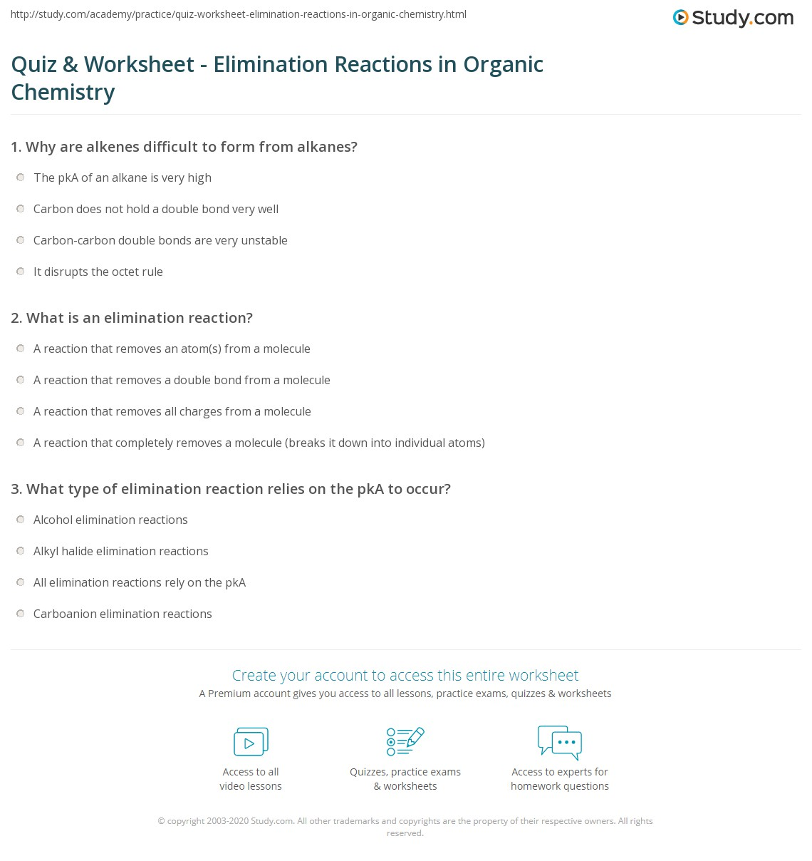 Worksheets Worksheets For Organic Chemistry Worksheet 1 Alkanes Answers quiz worksheet elimination reactions in organic chemistry print worksheet