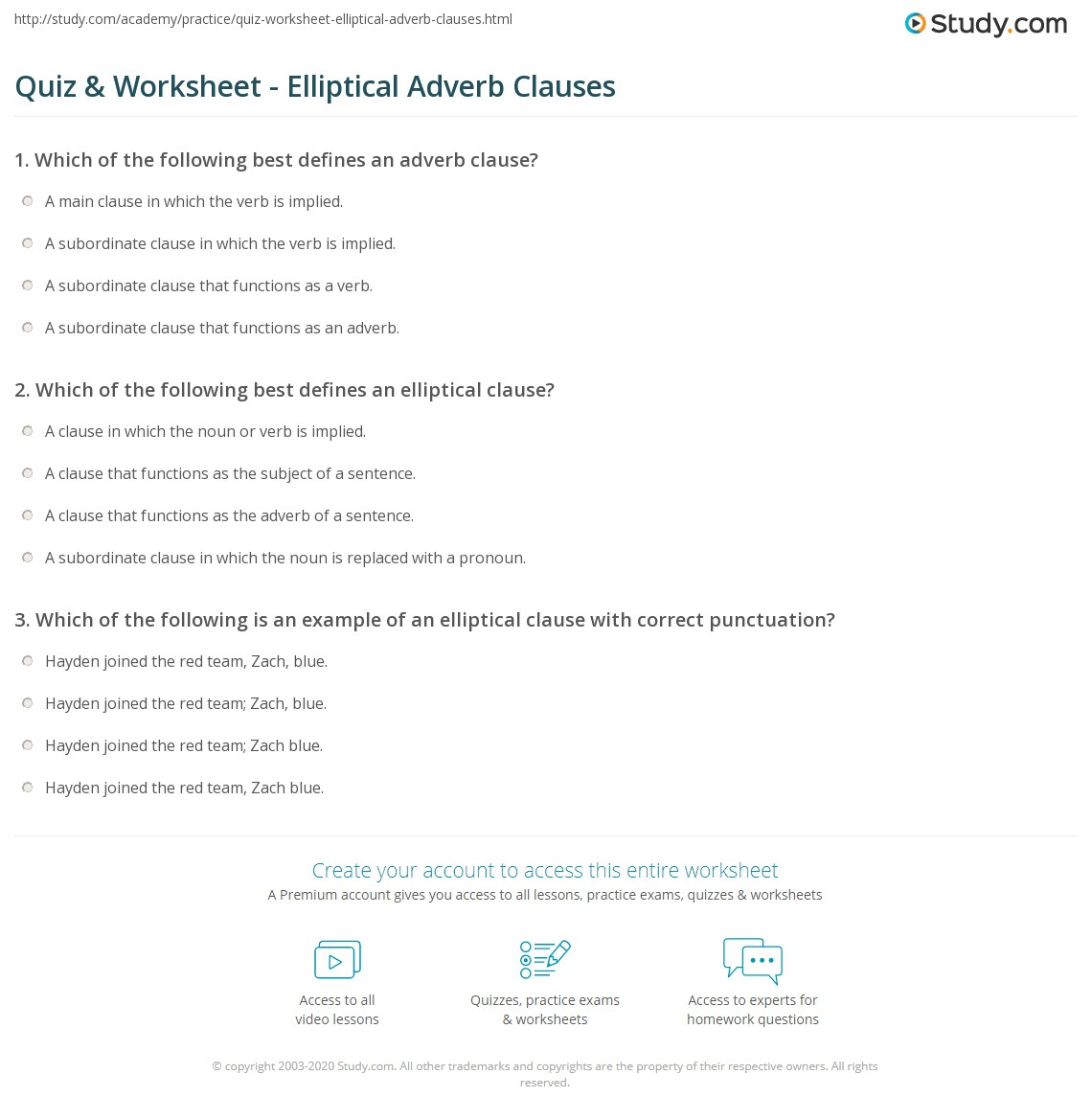 Quiz Worksheet Elliptical Adverb Clauses – Adverb Clauses Worksheet