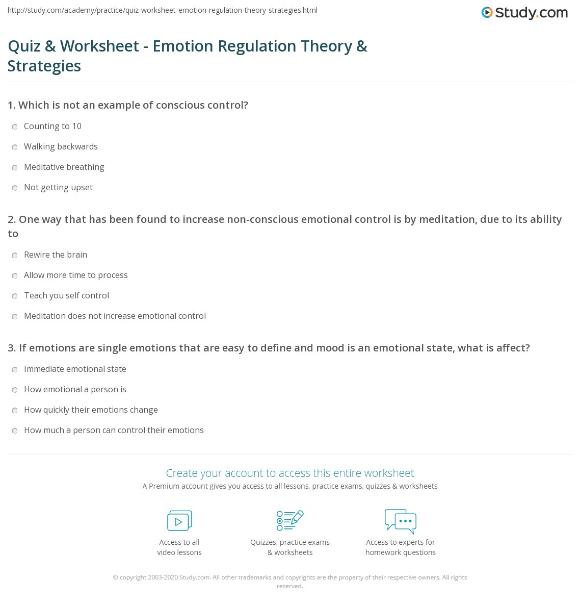 Quiz Worksheet Emotion Regulation Theory Strategies – Emotional Regulation Worksheets
