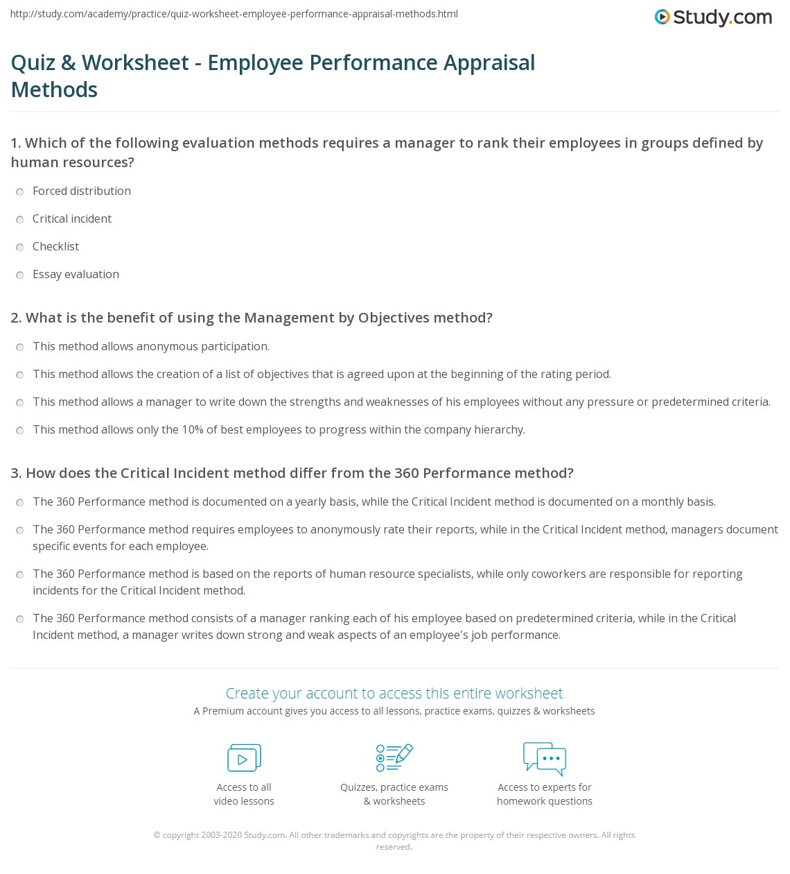 quiz worksheet employee performance appraisal methods study com print employee performance appraisal methods process examples worksheet