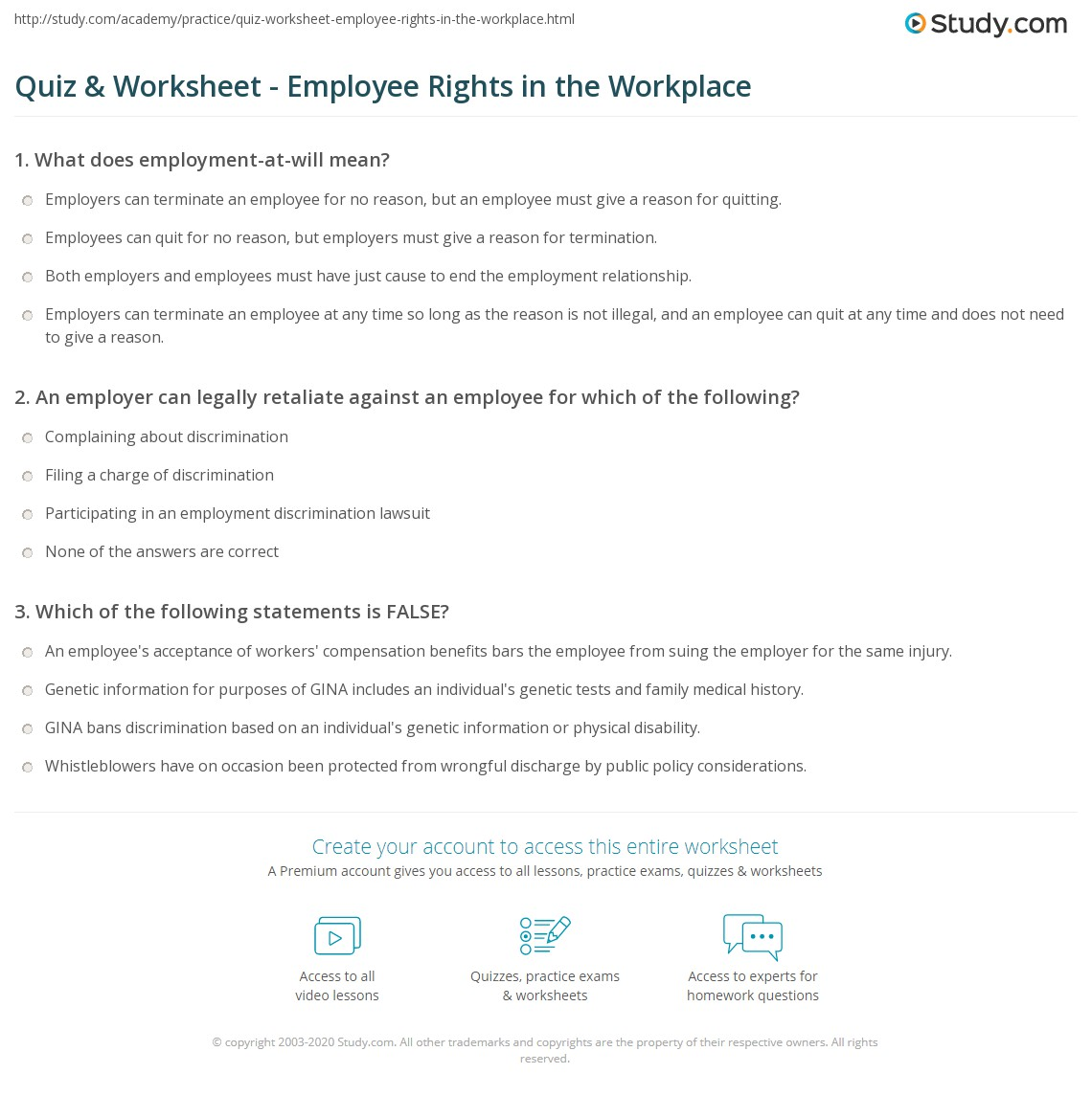 Free Worksheet Employment Skills Worksheets quiz worksheet employee rights in the workplace study com print what are law concept worksheet