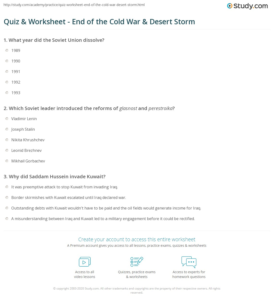 quiz worksheet end of the cold war desert storm com print the end of the cold war and desert storm worksheet