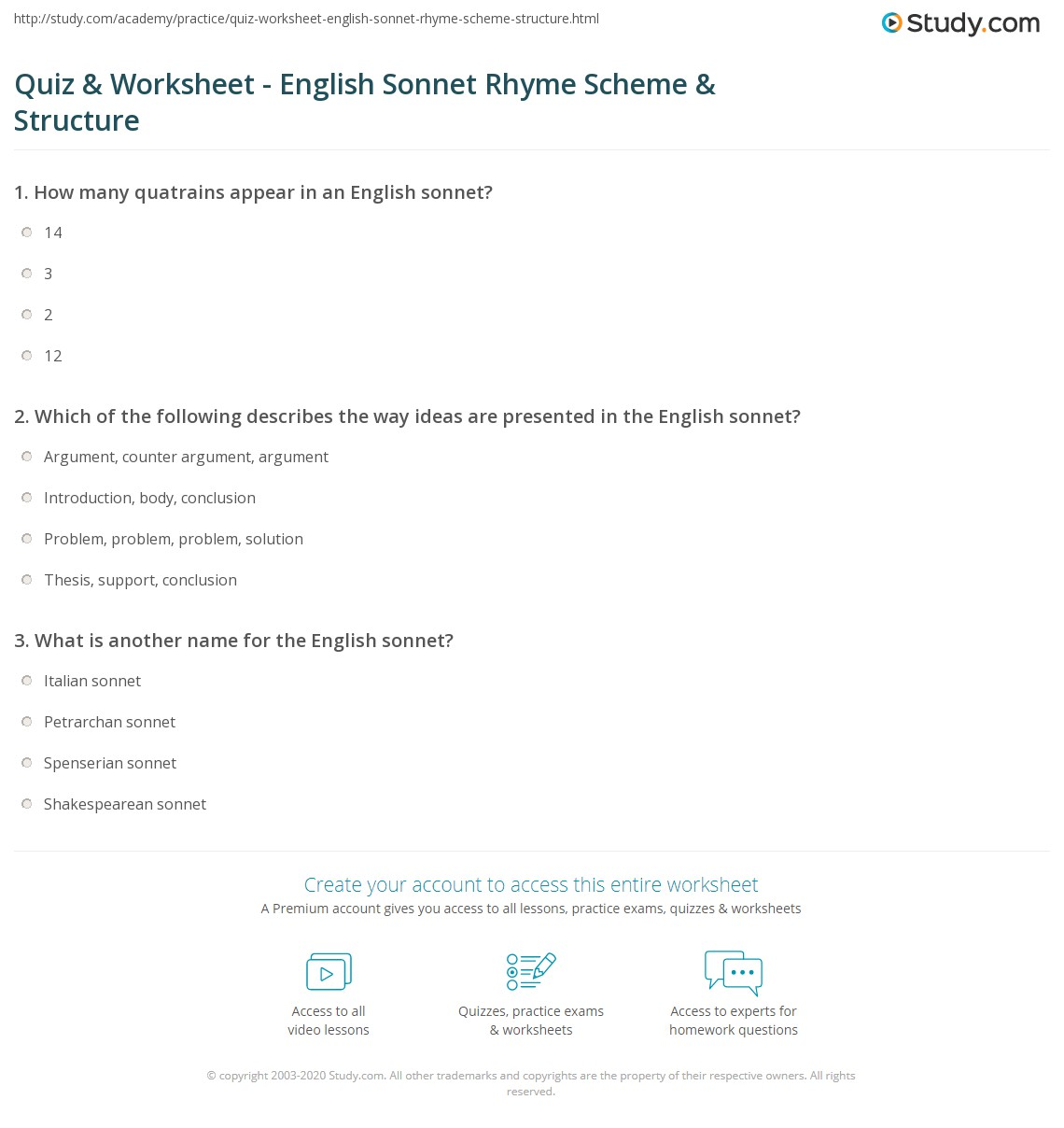 Printables Sonnet Worksheet quiz worksheet english sonnet rhyme scheme structure study com print definition examples worksheet
