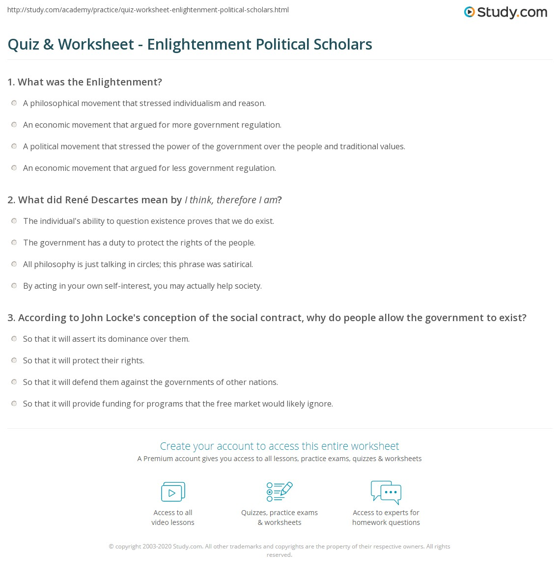 Worksheets Enlightenment Worksheet quiz worksheet enlightenment political scholars study com print thinkers of the worksheet