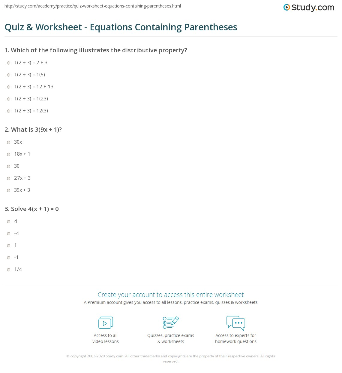 Quiz and Worksheet Equations Containing Parentheses – Math Problems with Parentheses Worksheets