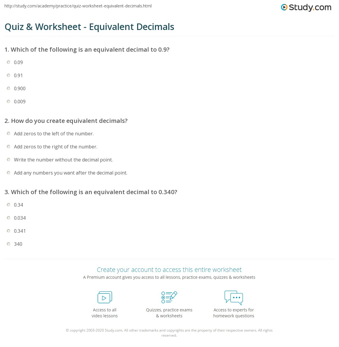 Equivalent Decimals Worksheet comparing fractions and decimals money – Equivalent Decimals Worksheet