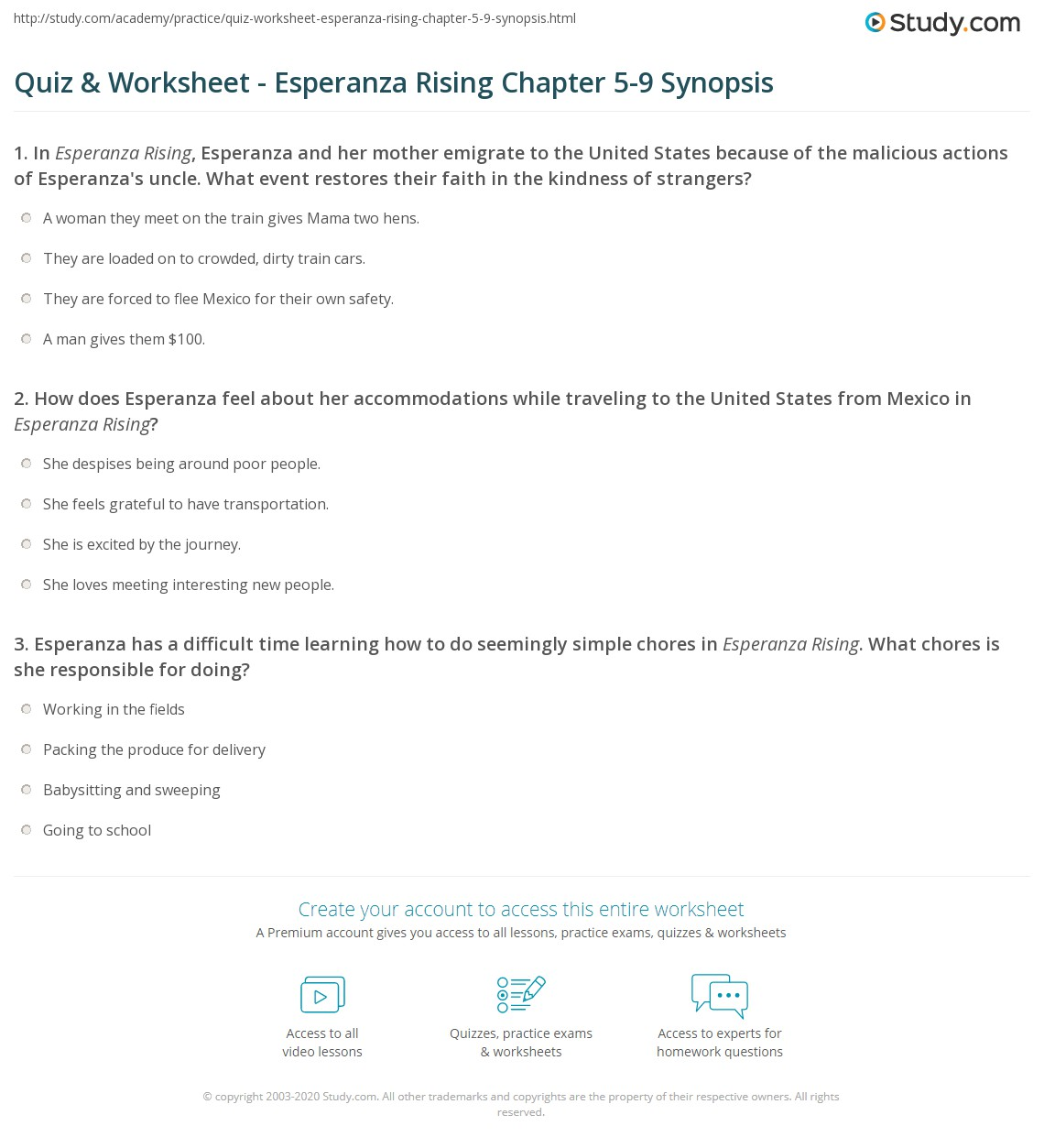 Worksheets Babysitting Worksheets quiz worksheet esperanza rising chapter 5 9 synopsis study com print summaries worksheet