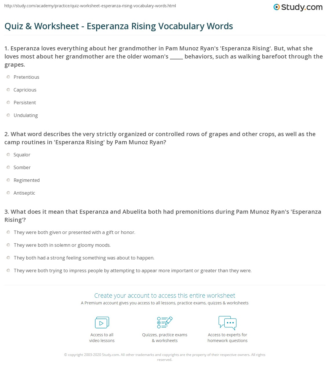 Quiz Worksheet Esperanza Rising Vocabulary Words – Esperanza Rising Worksheets