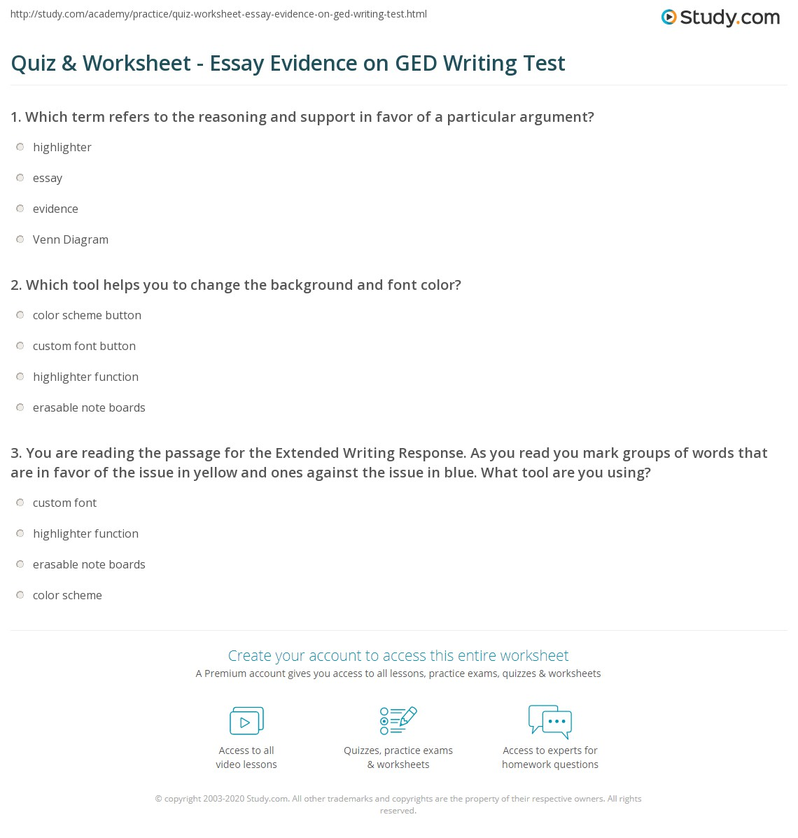 Quiz & Worksheet - Essay Evidence on GED Writing Test | Study.com