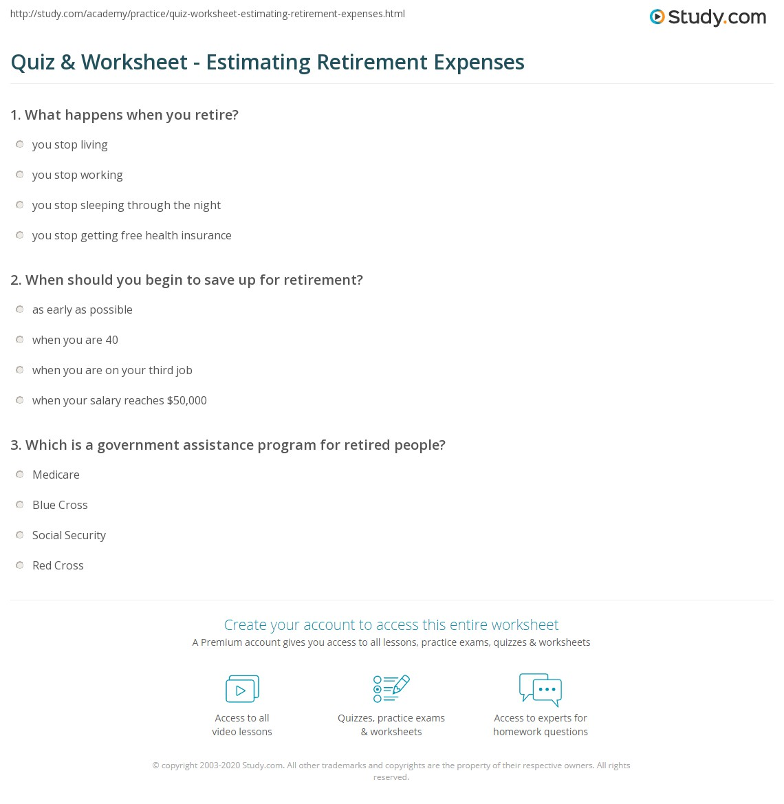 Worksheet Retirement Expenses Worksheet quiz worksheet estimating retirement expenses study com print saving for costs worksheet