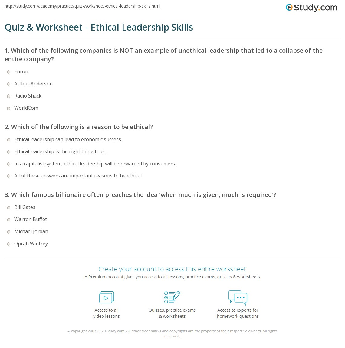 quiz worksheet ethical leadership skills com print the importance of ethical leadership skills worksheet