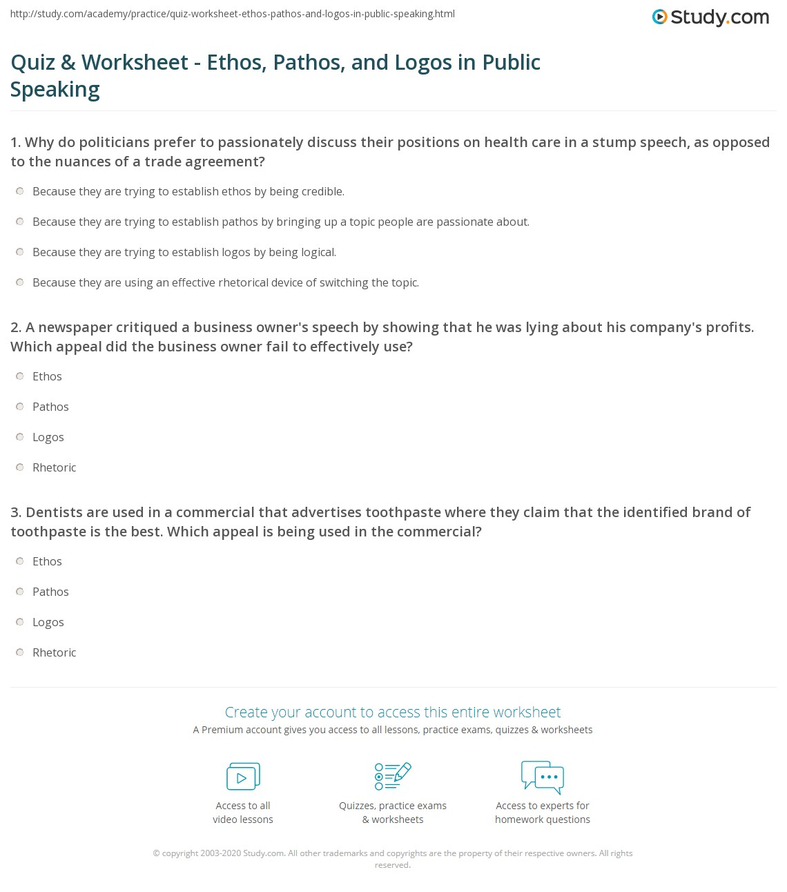 Quiz and Worksheet Ethos Pathos and Logos in Public Speaking – Ethos Pathos Logos Worksheet