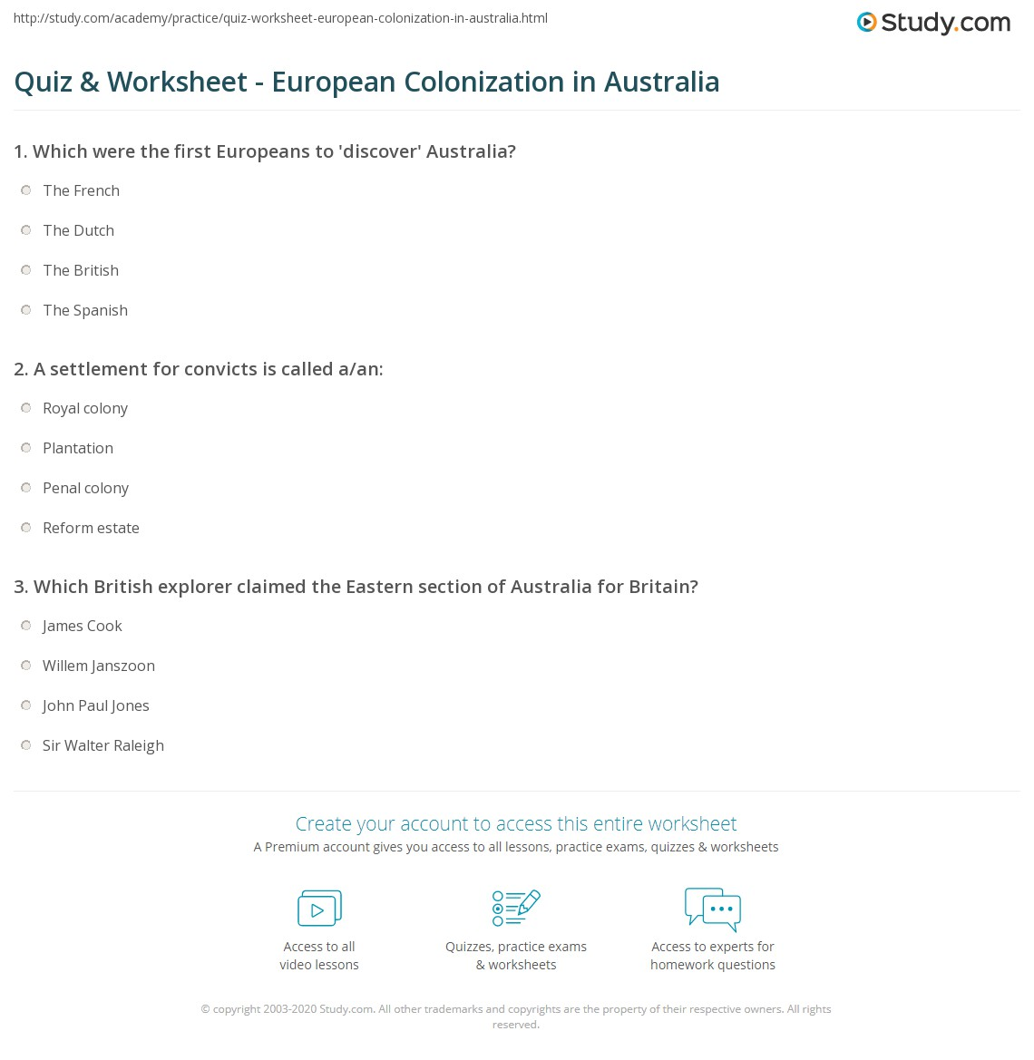 Quiz Worksheet European Colonization in Australia – Australia Worksheets
