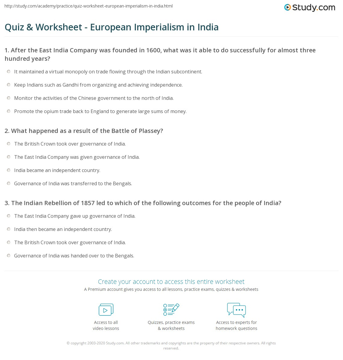 quiz worksheet european imperialism in com print european imperialism in the british east company worksheet