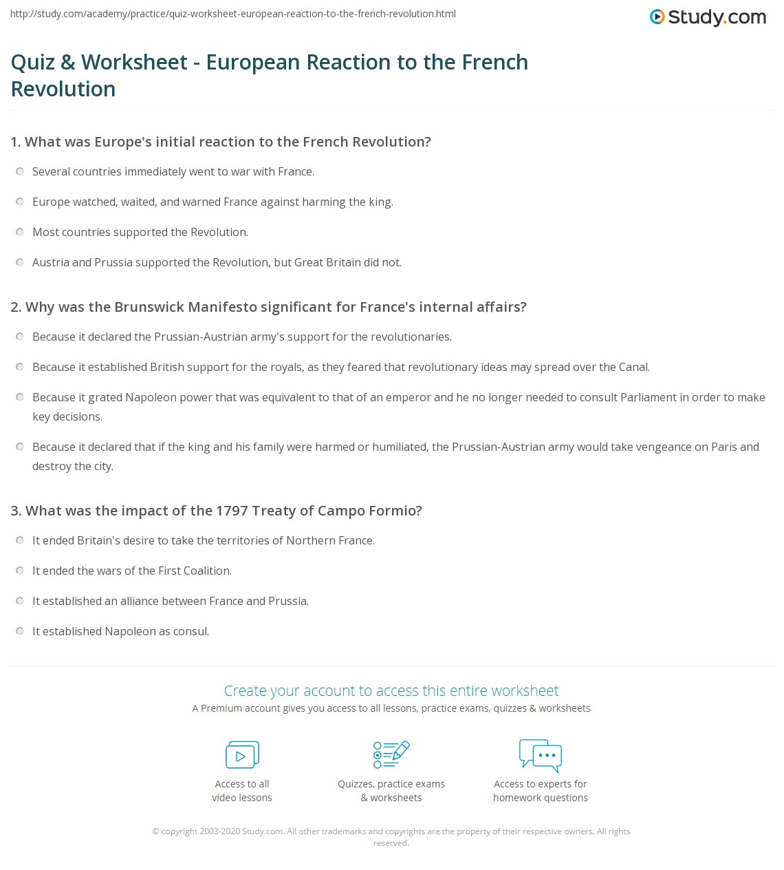 Quiz Worksheet European Reaction to the French Revolution – French Revolution Worksheets