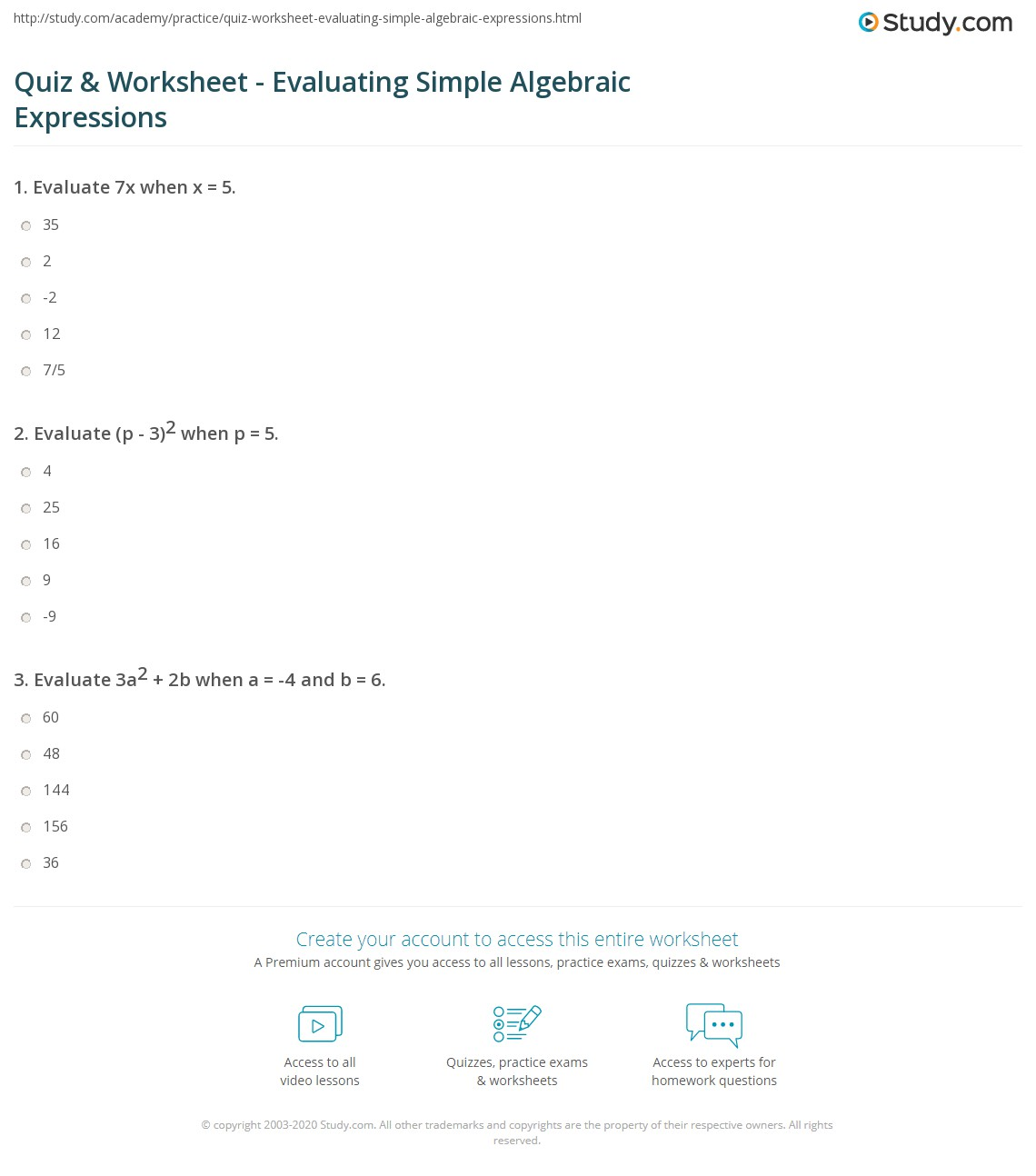 Quiz and Worksheet Evaluating Simple Algebraic Expressions – Math Expressions Worksheets