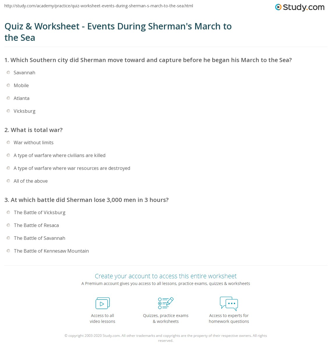 Quiz Worksheet Events During Shermans March to the Sea – Lost at Sea Worksheet