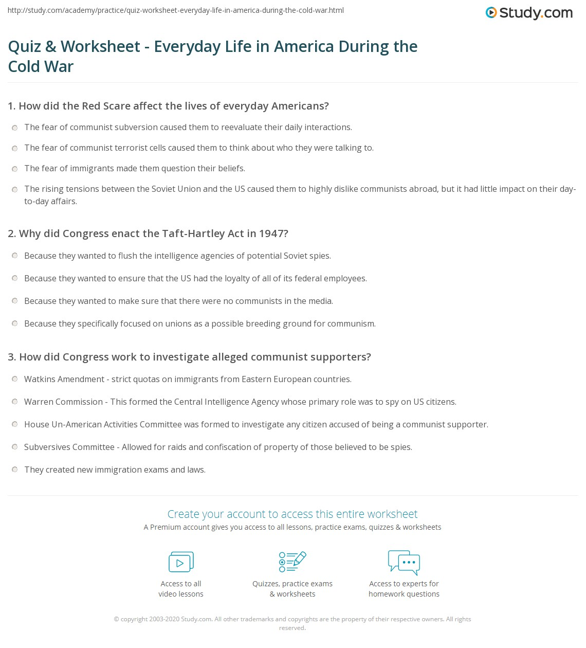 Quiz Worksheet Everyday Life in America During the Cold War – Cold War Worksheet